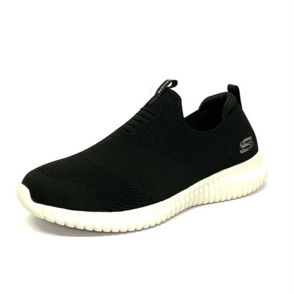 Tênis Skechers Elite Flex Preto Branco Slip On